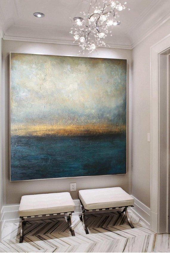 Große Ölmalerei Original Leinwand Abstract Malerei Blau Abstraktes Gemälde Graupelz-Malerei Sonnenuntergang der zeitgenössischen Kunst abstrapsel