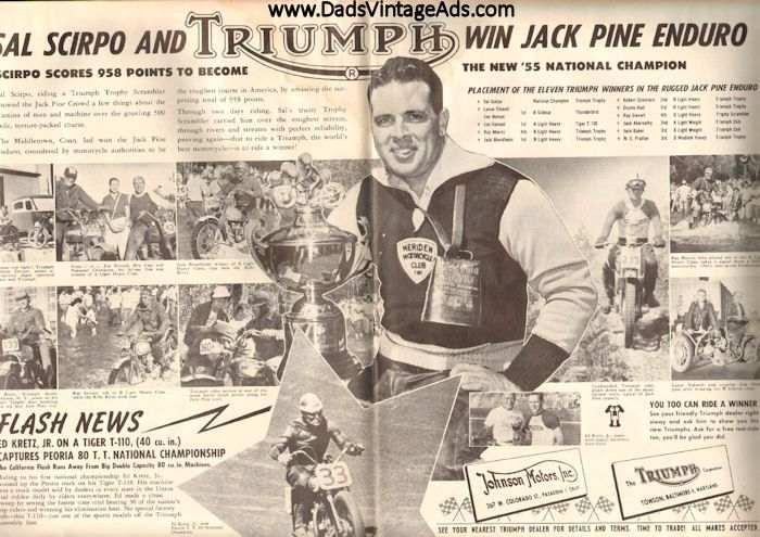 1955 November American Motorcycling Magazine Back-Issue - 2-Page Triumph Ad with Sal Scirpo