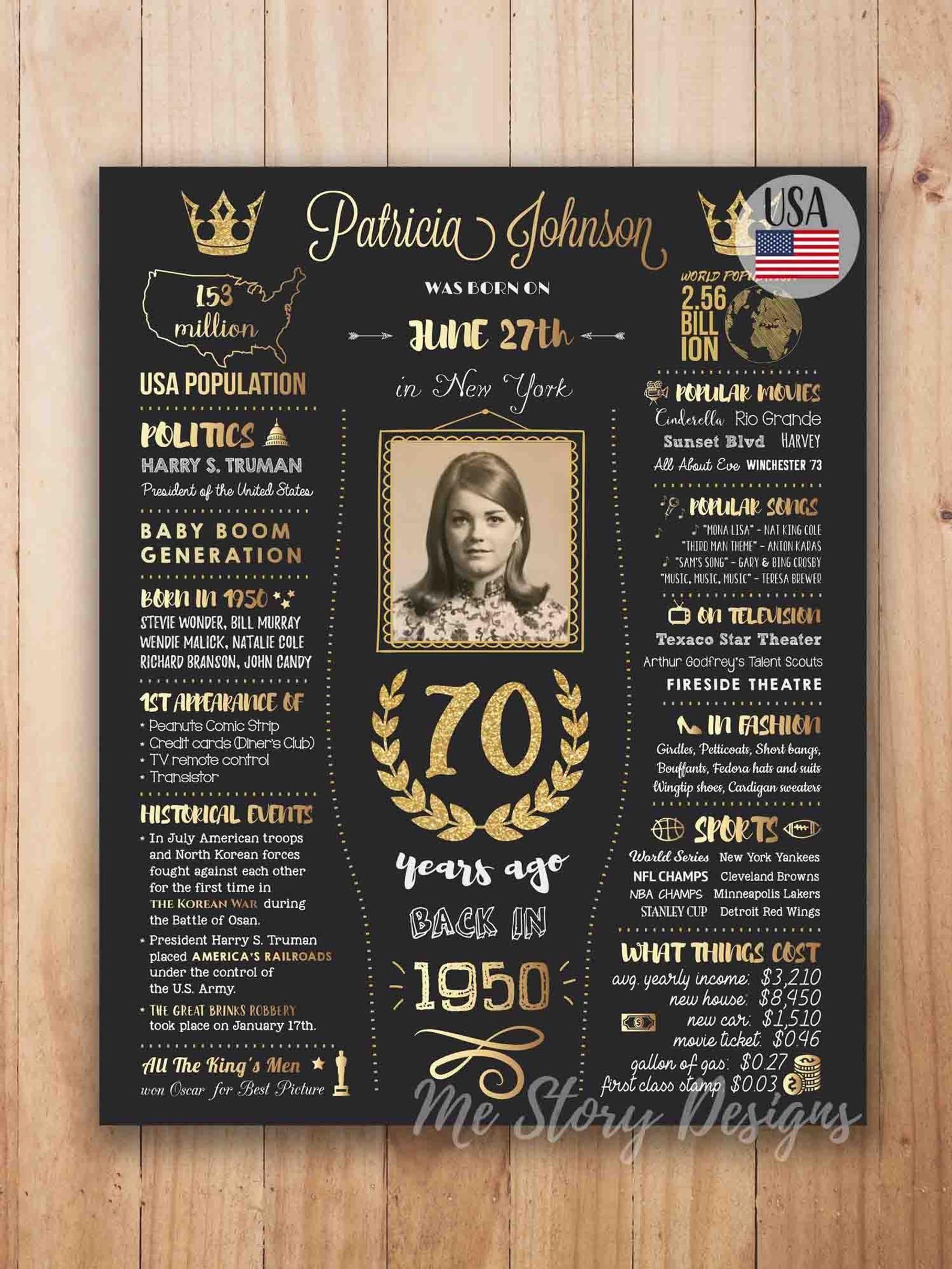 1950 birthday poster PRINTABLE 70th birthday gift for men
