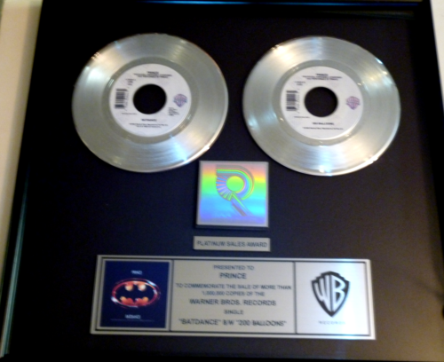 Prince Certified Riaa Single Platinum Gold Record Award Gold Disc Batdance Gold Disc Prince Records