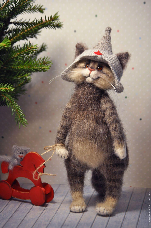 Ручная работа, handmade | Кошка из войлока, Вязаные ...