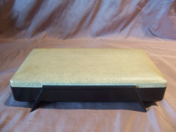 Farrington Atomic Jewelry Box pale yellow and black with red
