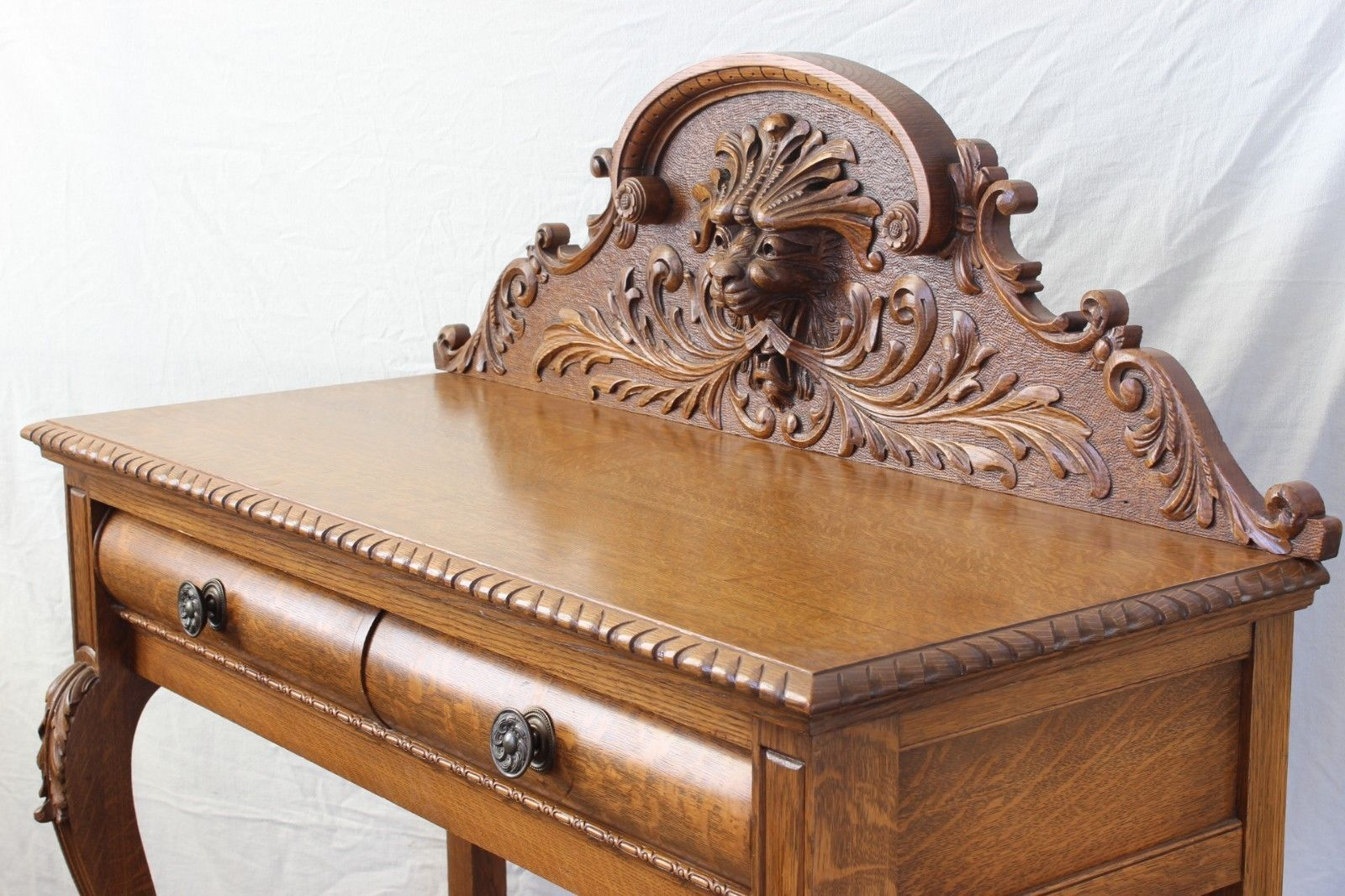 BEAUTIFUL 1890 Victorian RJ Horner Carved Tiger Oak Console Table w/Carved Face | eBay