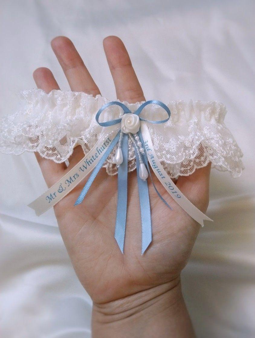 WEDDING GARTER. PERSONALISED BRIDAL GARTER SOMETHING BLUE GARTER GARTER