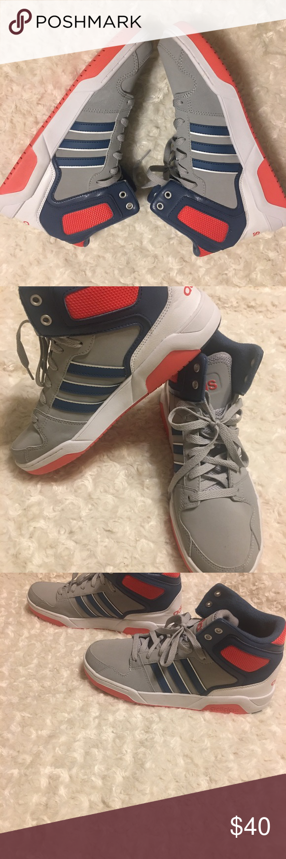 watch 16042 5bd79 New Adidas Neo BB9TIS Hi Top Sneaker 7 Blue White New without box big kids  sz 7 Adidas Neo hi top shoes in the uncommon colorway of red ash gray blue.