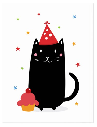 Happy Birthday Cat With Cupcake And Party Hat Postcard Card Featuring A Black