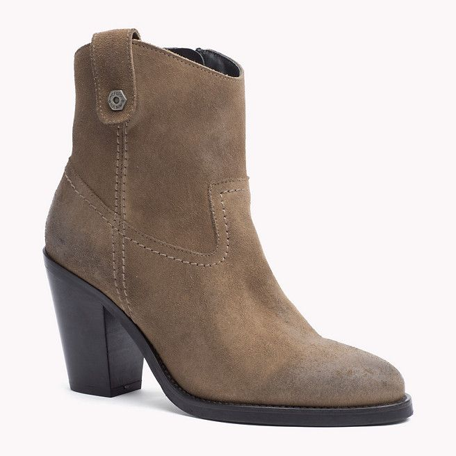 91e109799 Heeled Tommy Hilfiger Denim Suede Ankle Boot with side zip
