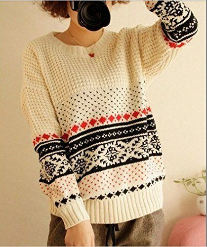 New Women's Pullover Retro Knitted Geometric Christmas Winter Loose Warm Sweater