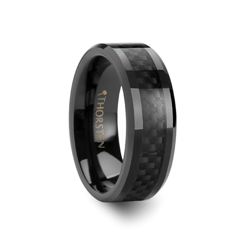 8mm Onyx Black Carbon Fiber Inlaid Ceramic Wedding Band Bandsmen