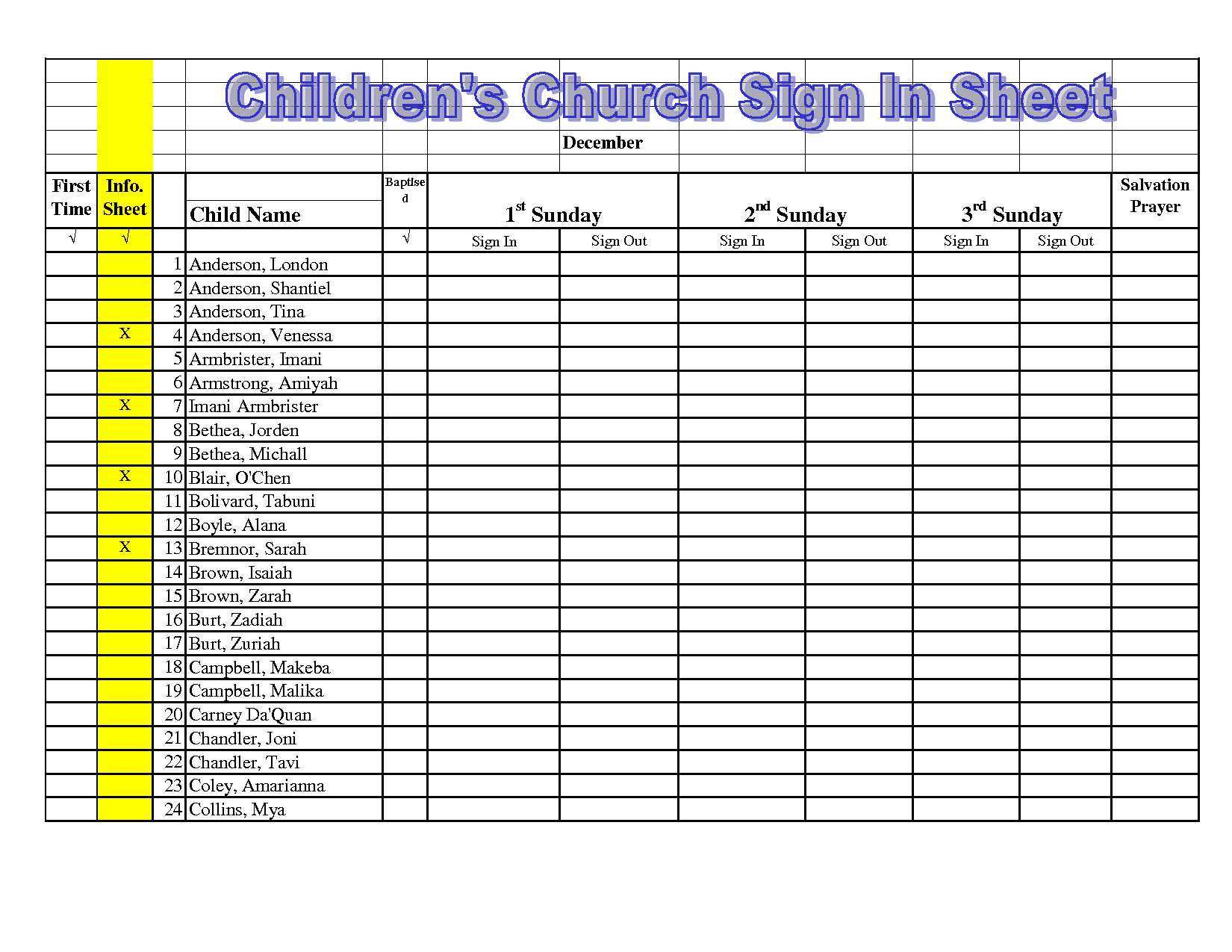 Image Result For Children S Church Sign In Sheet Template Youth Ministry