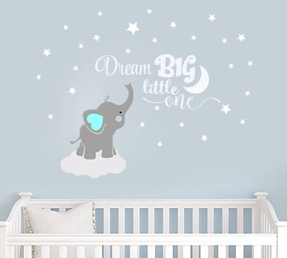 Dream Big Little One Elephant Decal Name Wall Decal Elephant Wall Decal Elephants Baby Boy Room Decor Decals Nursery Boys Decals