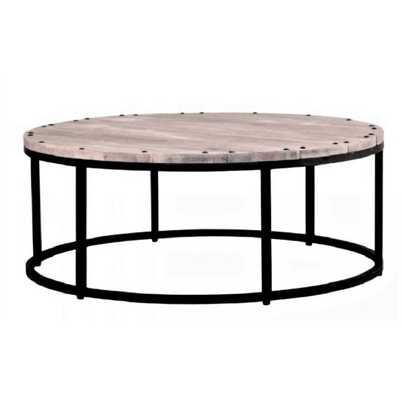 Round Wood And Iron Coffee Table Rustic Boho Modern Farm Style