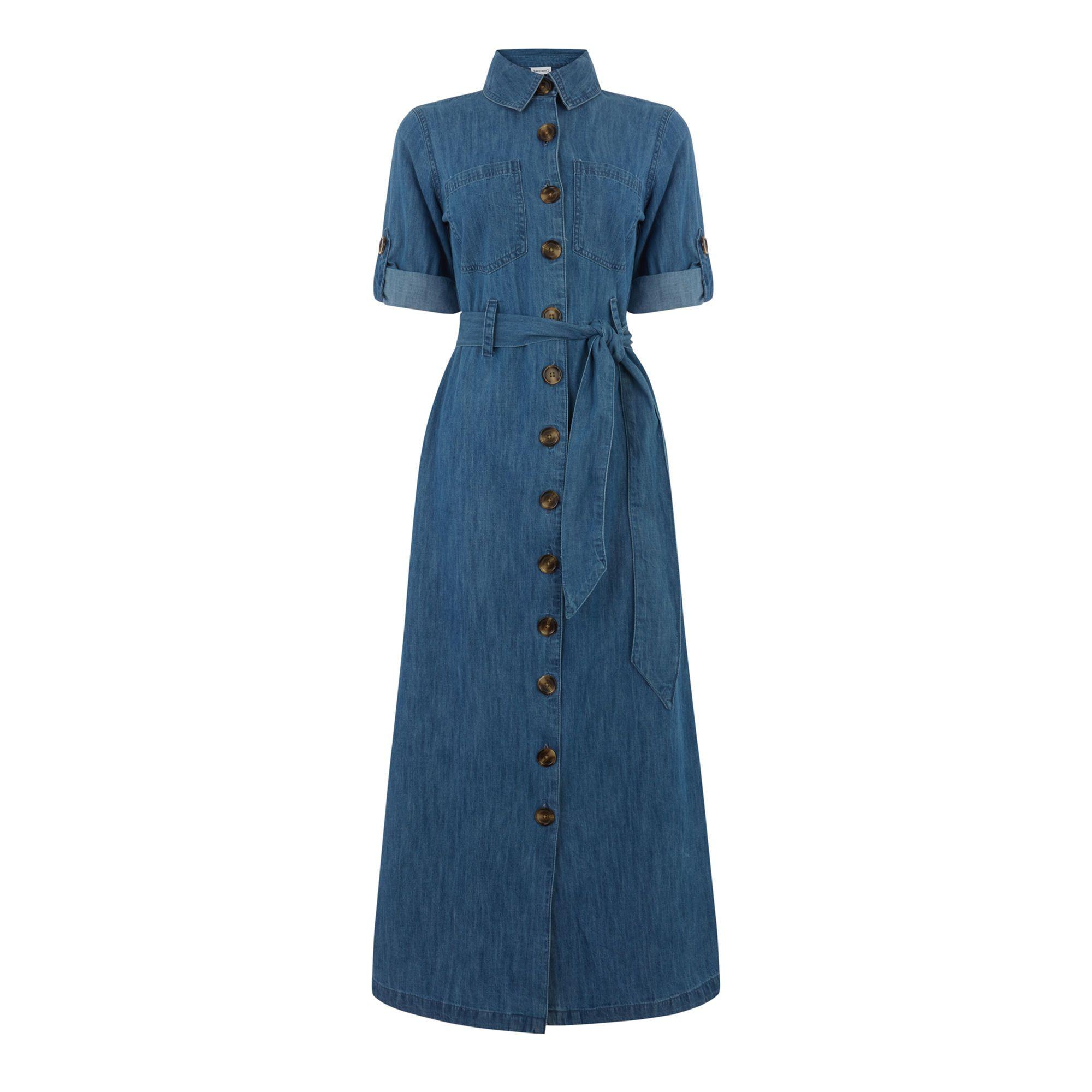 DENIM MAXI SHIRT DRESS | Warehouse | Shirt dress, Clothes ...