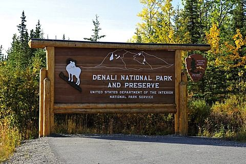 Entrance sign, Denali National Park, Alaska