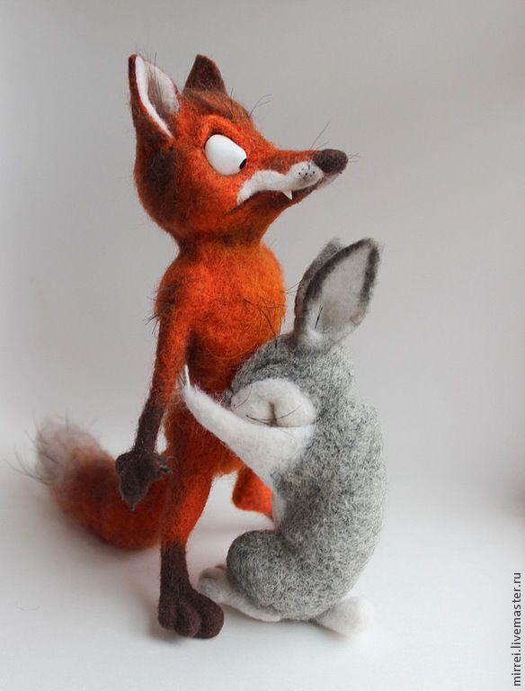 Купить или заказать Лис и зайц. БЕЗ ПОВТОРА в интернет-магазине на Ярмарке Мастеров. Лис и заяц ,по картинке из интернета.