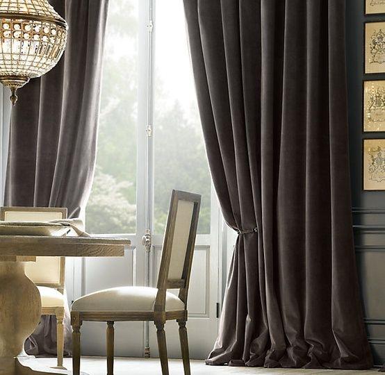 Restoration Hardware Velvet Charcoal Curtains In Master Bedroom