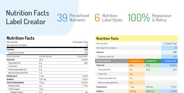 awesome Nutrition Details Label Creator (Add-ons) ThemeForest - ingredient label template
