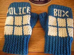 Ravelry: Tardis Fingerless Gloves pattern by Ducky Dame -   This pattern is available for download for $4.00. Ducky Dame's Nerdy Knitty Patterns  Do you like Doctor Who? Do you like fingerless gloves? Do you want to make Tardis fingerless gloves on your own? Well have i got a pattern for you!!!!  Now you too can make these snazzy gloves all on your own!