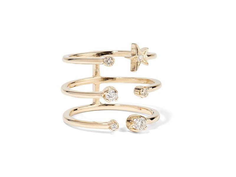 Andrea Fohrman - Triple star ring mounted on gold with diamonds ~ 1'948 Euros