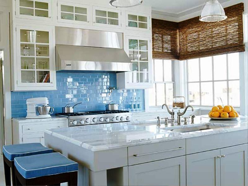 Modern Stylish Simple Clean Blue White Kitchen Photos Designs