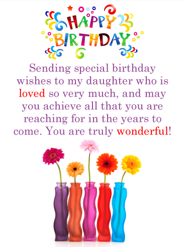 colorful daisies happy birthday card for daughter wish your