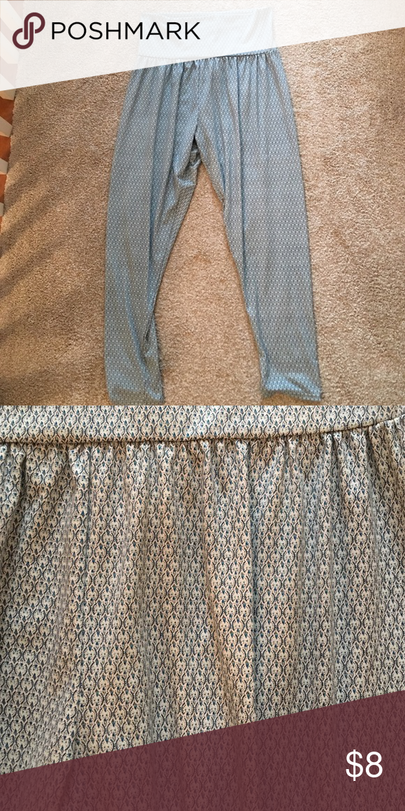 Turquoise printed pants Size large barely worn brand is lft (bought in Madrid) Pants