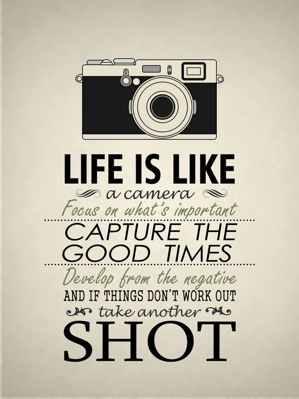 Life is like a camera. Focus in what's important. Capture
