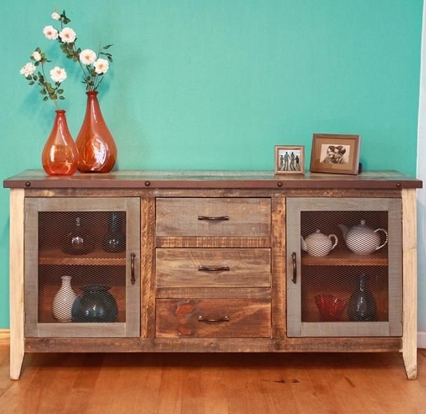 900 Antique Rustic Casual Multicolor Buffet With Iron Mesh