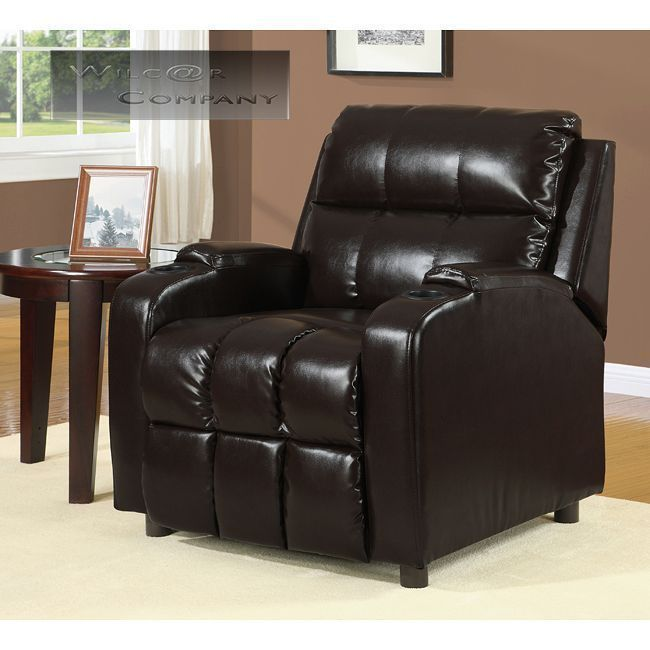 New Chestnut Leather Recliner Cup Holder Lazy Boy Chair Furniture