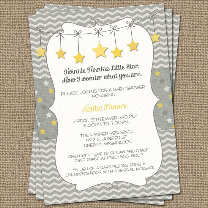 Twinkle, Twinkle Little Star baby shower invite, yellow and gray ...