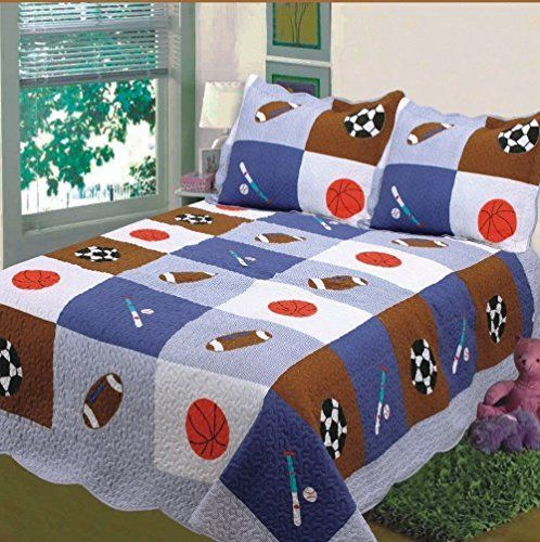 Fancy Collection 2 Pc Twin Size Bedspread Sport White Blue Brown Basket Ball Base Ball Foot Ball New 007 Learn Brown Baskets Kids Bedding Sets Bed Spreads