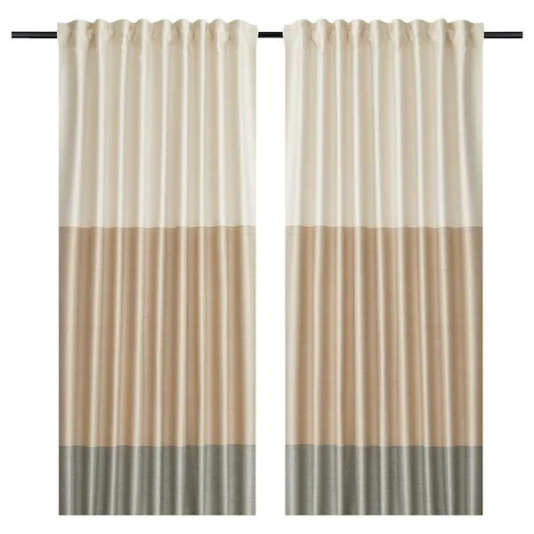 Bindvide Curtains 1 Pair Gray White Beige 57x98 Curtains