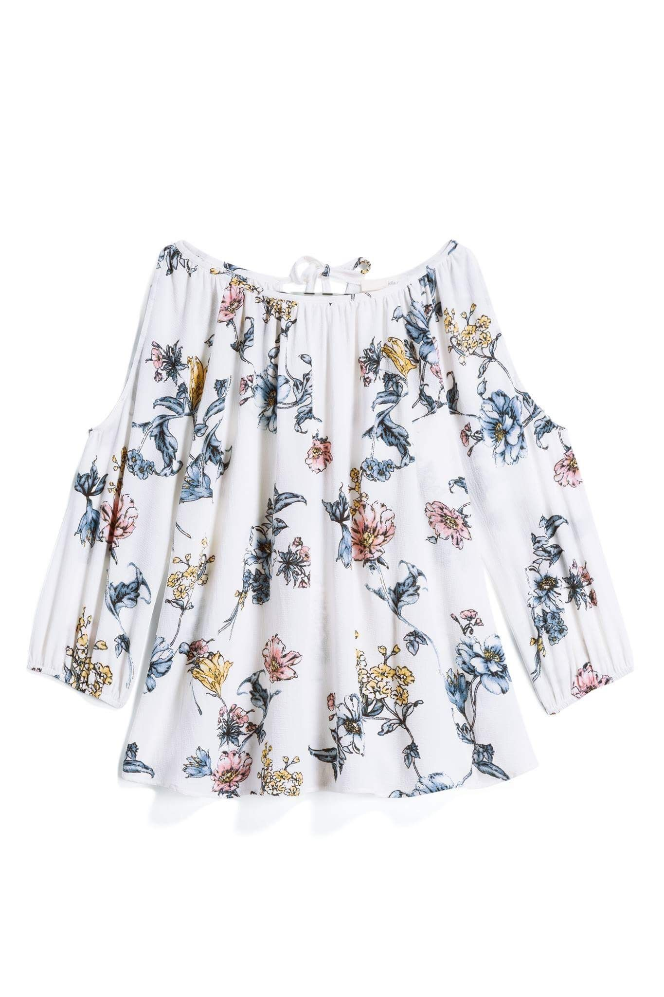 d4f0477cb31bfc Jella C Worthington Top - White Floral Cold Shoulder Back Tie Blouse -  Stitch Fix Style Quiz