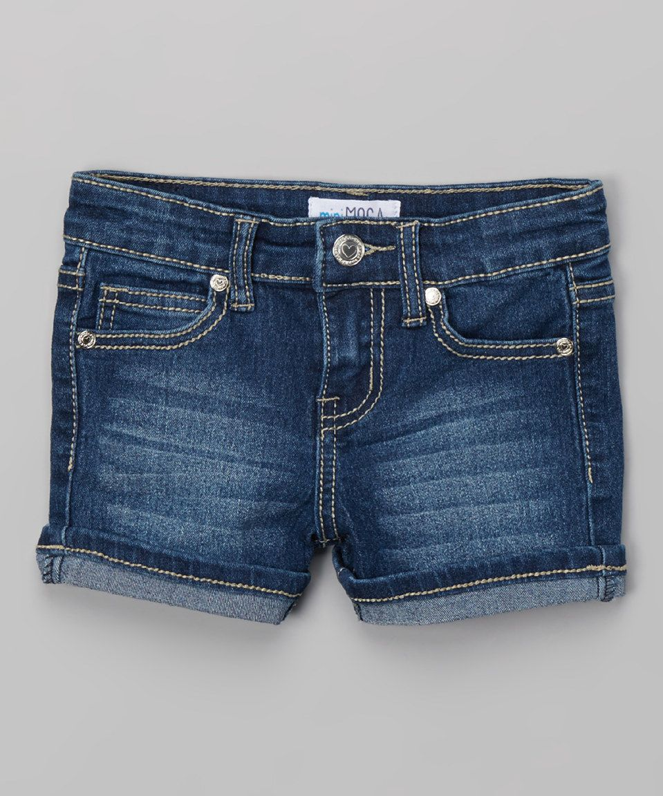 This MiniMOCA Medium Blue Cuff Denim Shorts - Girls by MiniMOCA is perfect! #zulilyfinds
