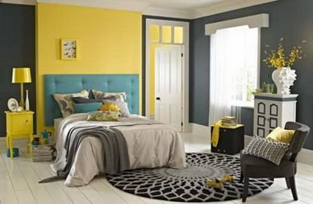 Dark grey and yellow wall scheme with modern beds in small bedroom design ideas bedroom Master bedroom with yellow walls