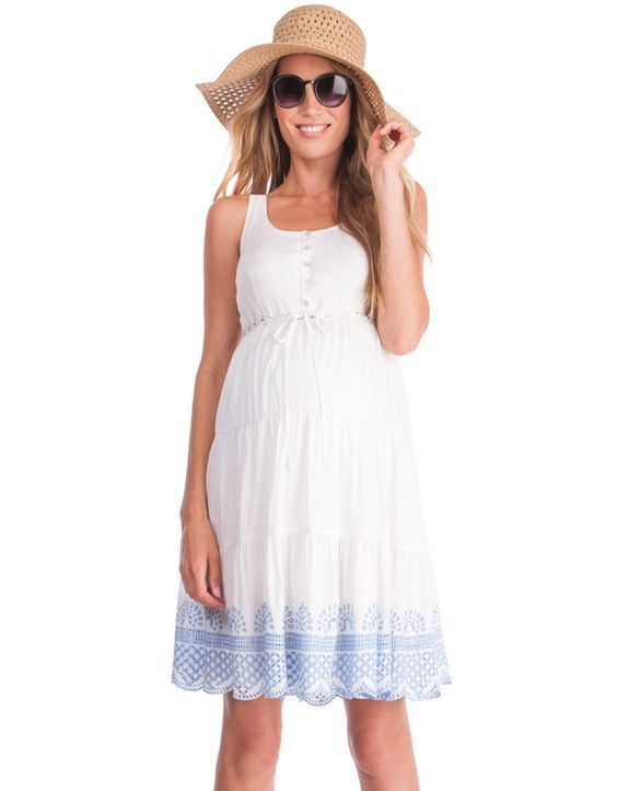 White Cotton Embroidered Maternity Sundress