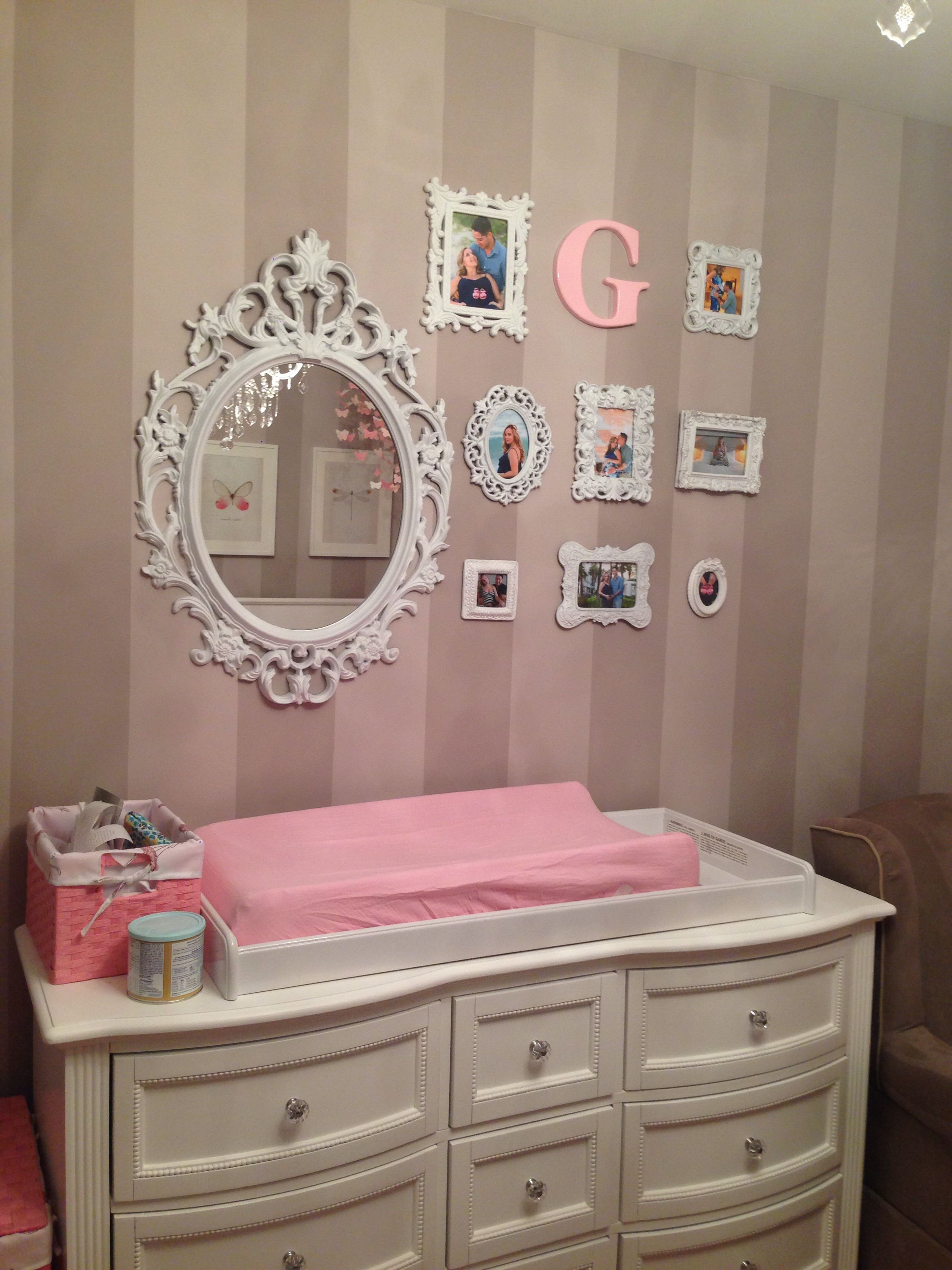 Gray and pink baby bedroom