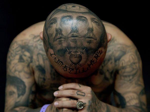 Head tattoo 25 cool mexican mafia tattoos family ms 13 for Full head tattoo