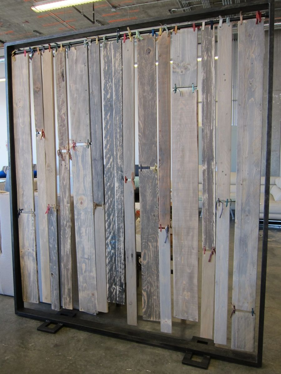 Recycled Wood Room Divider In Grey Along With Hanging Decoration For