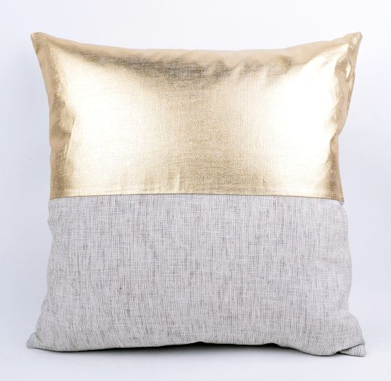 Sukan 1 Gold Solid Linen Pillow Cover Decorative By Sukanart