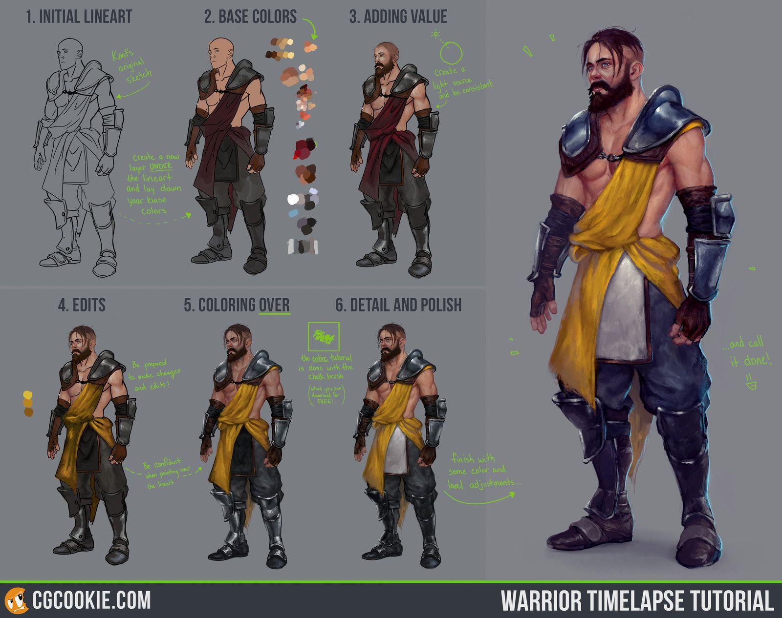 Character Design Tutorial Step By Step : Warrior timelapse tutorial step by cgcookie