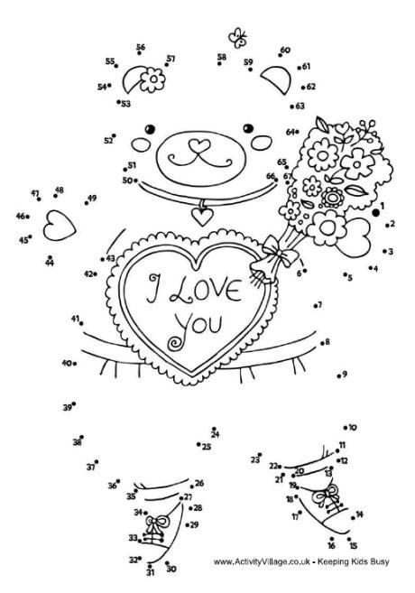 Valentine teddy dot to dot Valentines Valentines day
