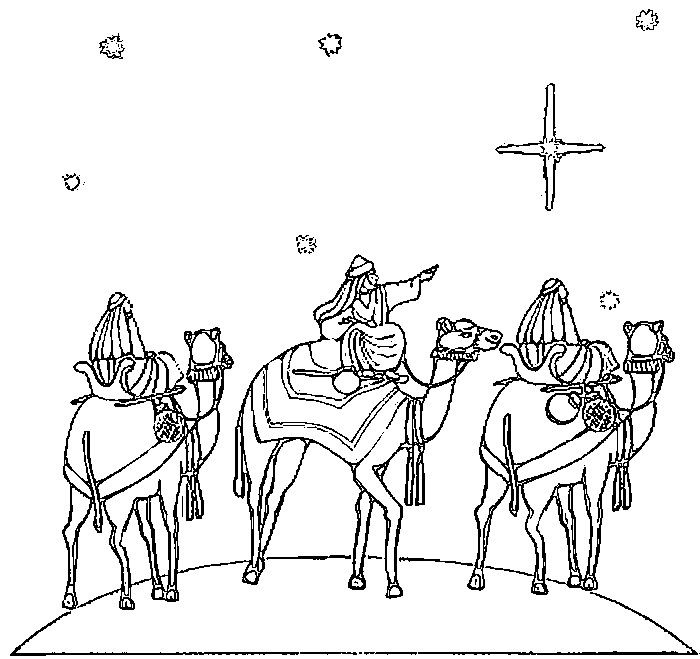 Three Wise Men Coloring Page With Images Epiphany Coloring