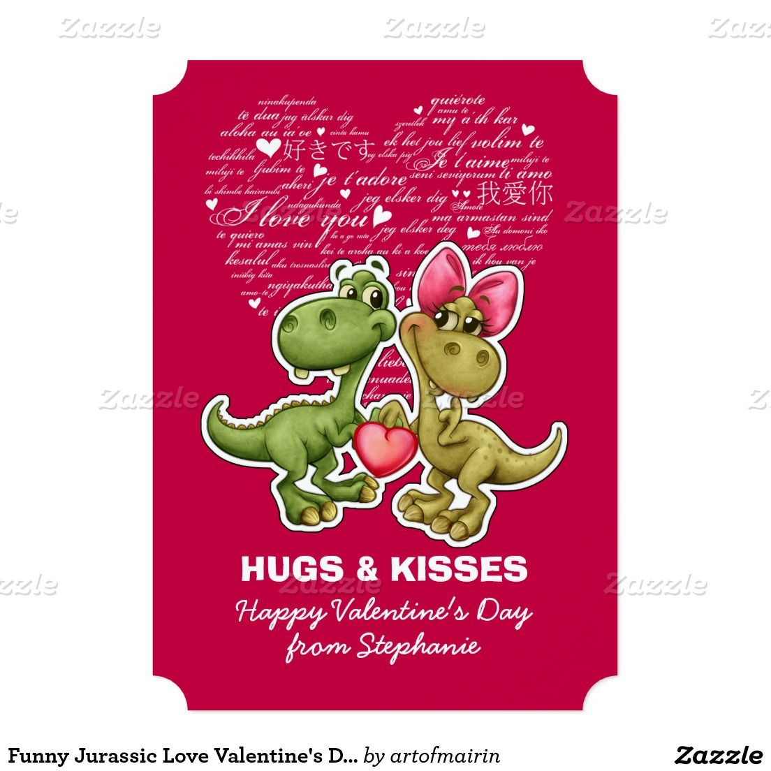 Funny dinosaurs jurassic love valentines day flat greeting cards funny dinosaurs jurassic love valentines day flat greeting cards with customizable greeting matching cards in various languages postage stam m4hsunfo