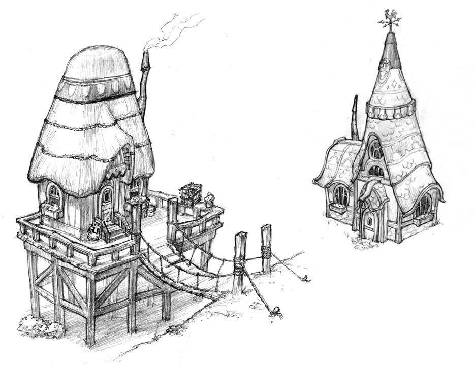 Unpublished Fantasy MMO Concept Art Cartoon TutorialHouse SketchGenreBuilding