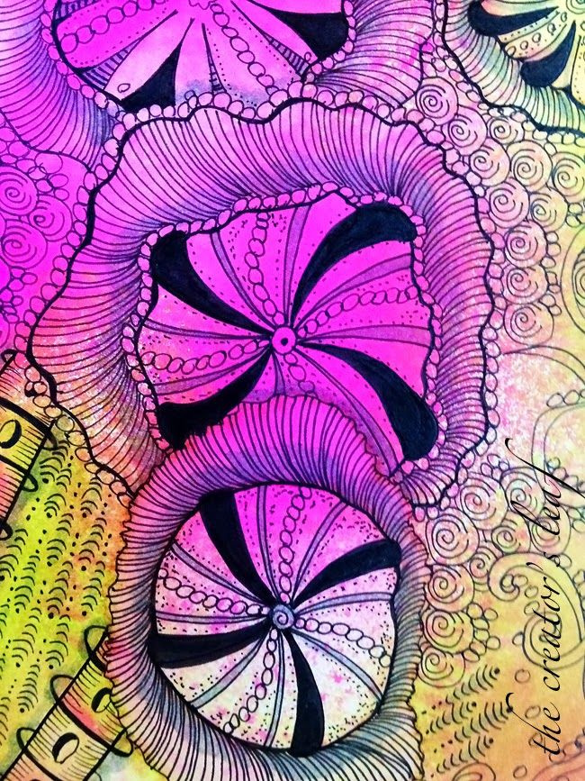 The Creator's Leaf: Love These Colors! dylusions ink spray background, zentangle - urchin Alice Hendon www.thecreatorsleaf.blogspot.com