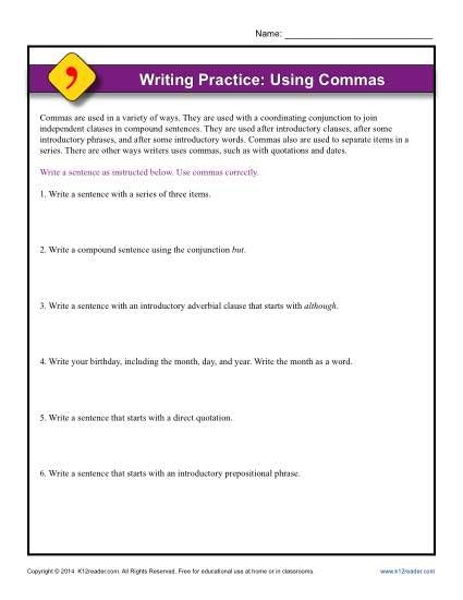 Writing Practice: Using Commas | K12 | Writing practice