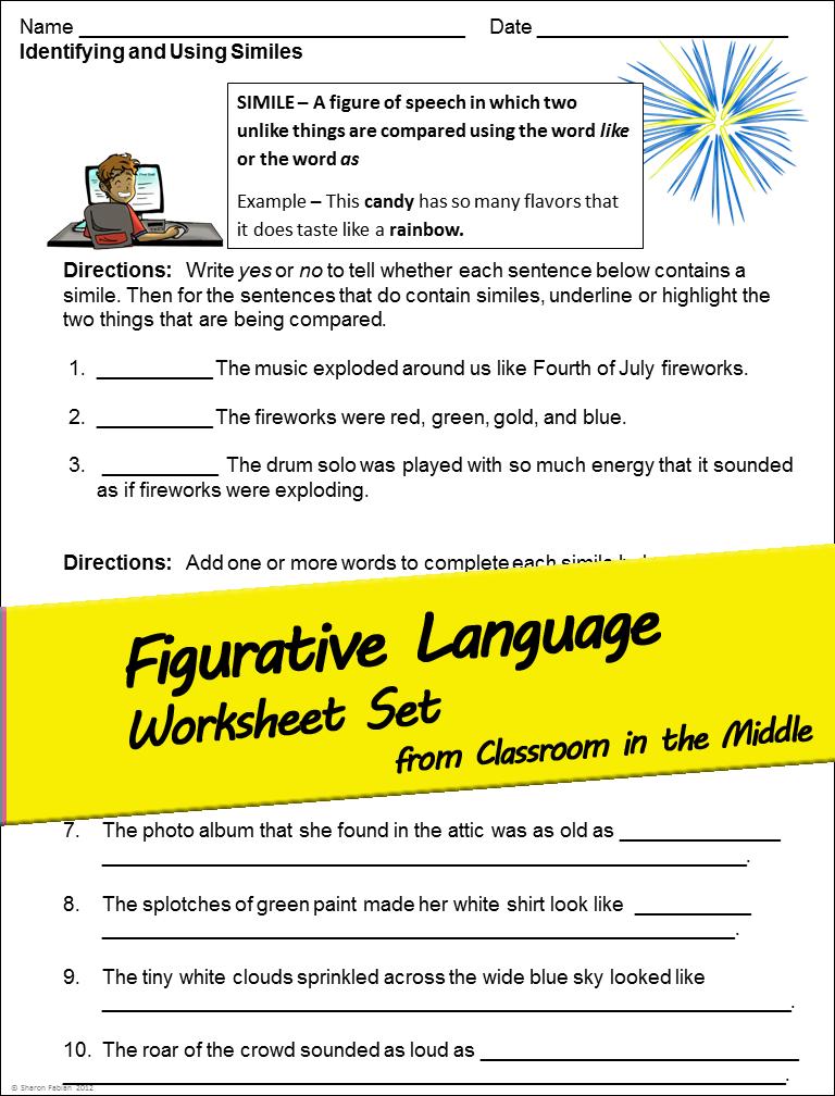 Figurative Language and Imagery Worksheet Set Middle