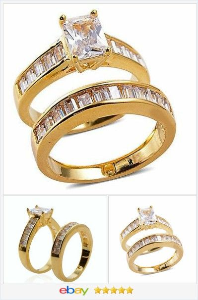 Wedding Set cz solitaire 18k gold AND Stainless Steel size 7 USA Seller  60% OFF #ebay #christmasinjuly http://stores.ebay.com/JEWELRY-AND-GIFTS-BY-ALICE-AND-ANN