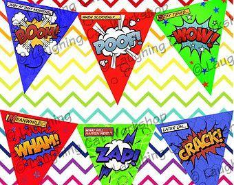Superhéroe banner imprimible fiesta de cumpleaños de los niños de la fiesta de Batman Superma...
